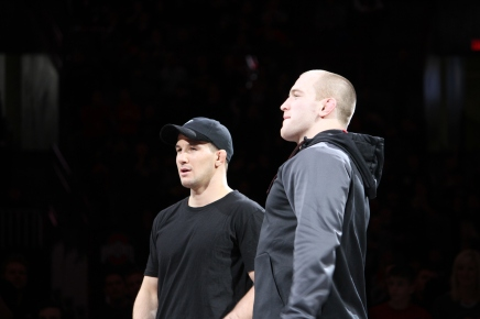 Logan Stieber and Kyle Snyder recognized during the match against Penn St.