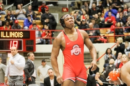 Myles Martin reacts after dispatching Emory Parker of Illinois