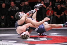 Cody Burcher (bottom) and Vincenzo Joseph grapple during the dual meet between Ohio State and Penn State,